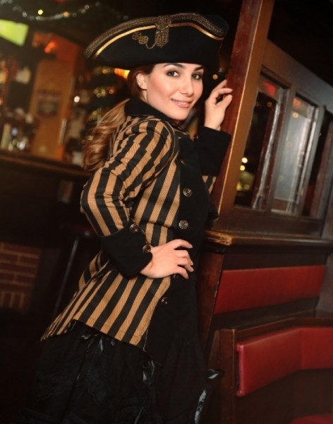 Steampunkjacke Piratenjacke Stripes