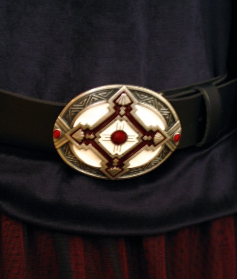 Zinn Buckle oval rote Emaille