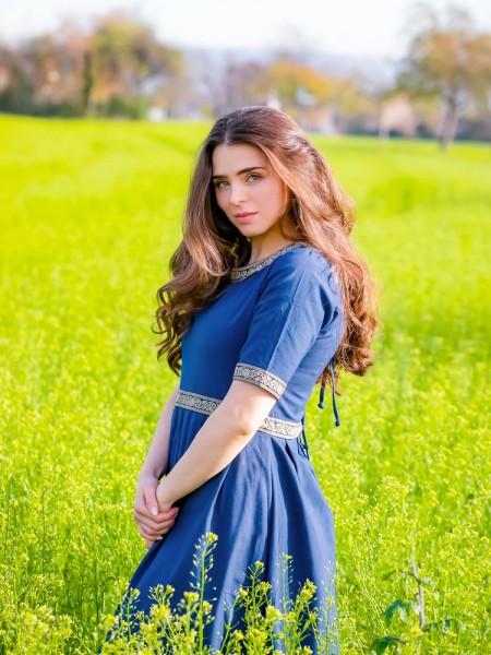 Mittelalterkleid Gundina blau