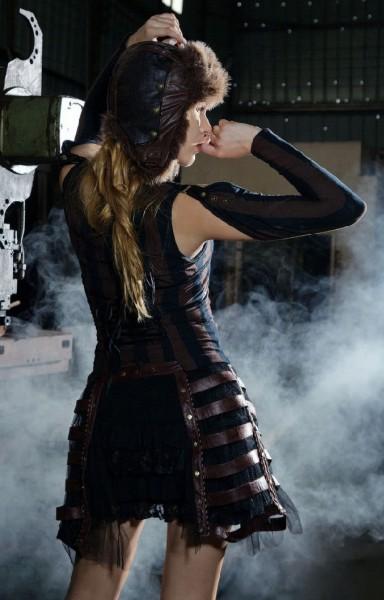 Rock Steampunk braun Krinoline