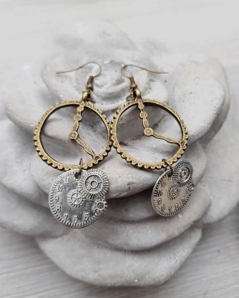 Ohrringe Steampunk silber-bronze