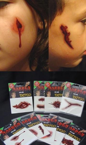 Tatoos Narbenset 5 Stück groß