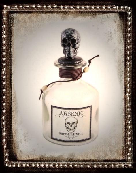 Glasflasche Arsen mit Totenkopf 16cm