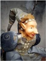 Harlekin Eulenspiegel Puppen silbergrau
