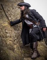 Piratenmantel Leinen schwarz