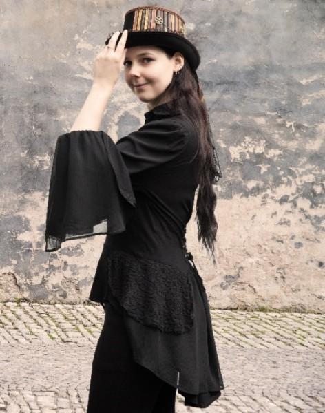 Schwarze Steampunkbluse Lillian
