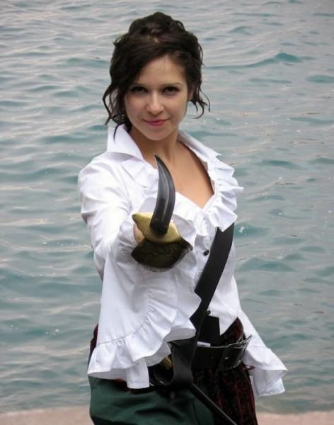 Piratenbluse mit Rüschenärmel Damen weiß