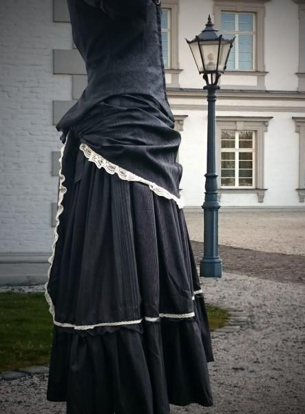 viktorianischer Streifen Rock schwarz