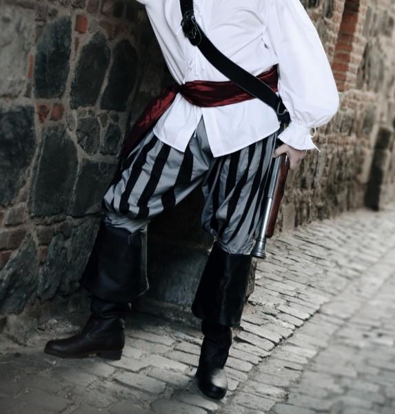 Piratenhose Pumphose grau-schwarz