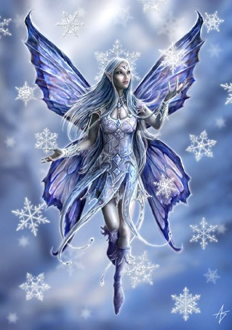 Fantasy Winterkarten Eis Elfe