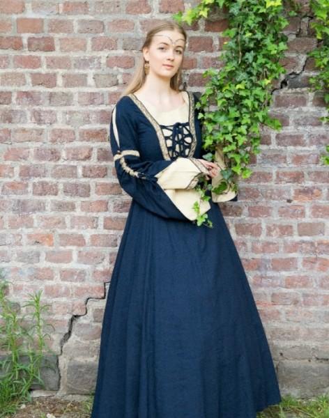 Mittelalterkleid Duchesse blau Leinen