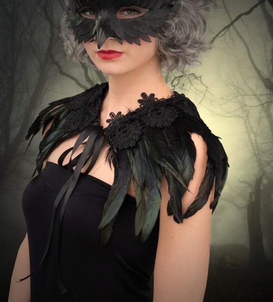 Kragen Rabe Maleficent Federn