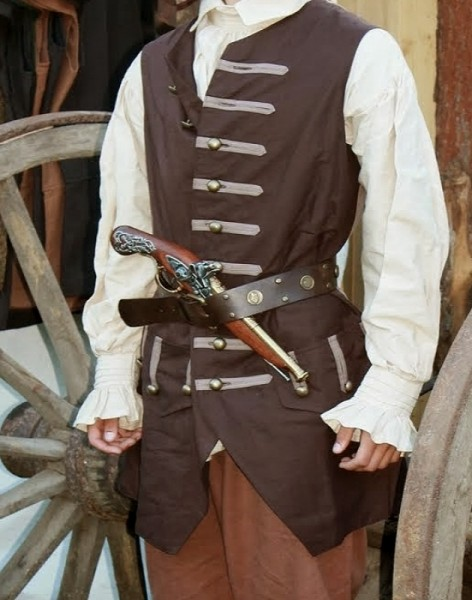 Pirate's long Vest Piratenweste dunkel