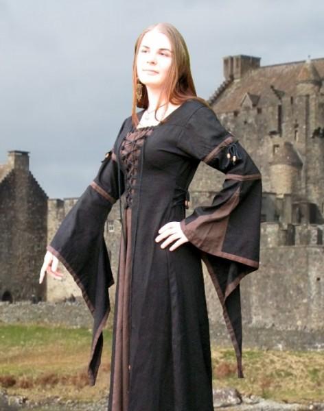 Elben Kleid 2-farbig schwarz-braun