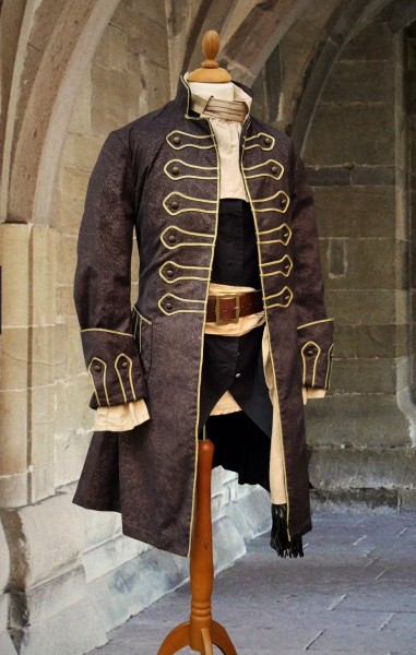 Piratenmantel Gehrock Jacquard kupfer