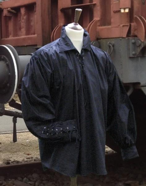 Piratenhemd in schwarzer Baumwolle
