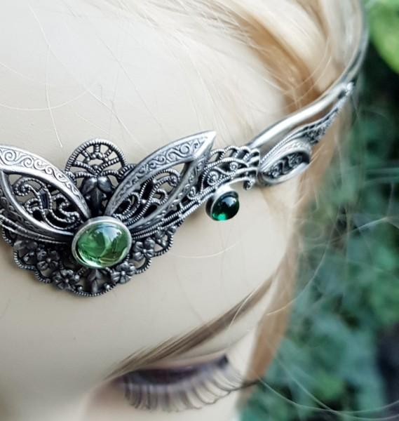 Diadem Tiara grün breit