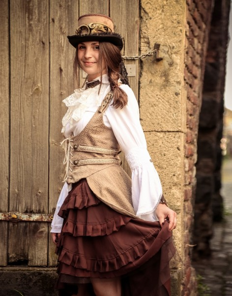 Steampunk Corsage Tail-Taupe