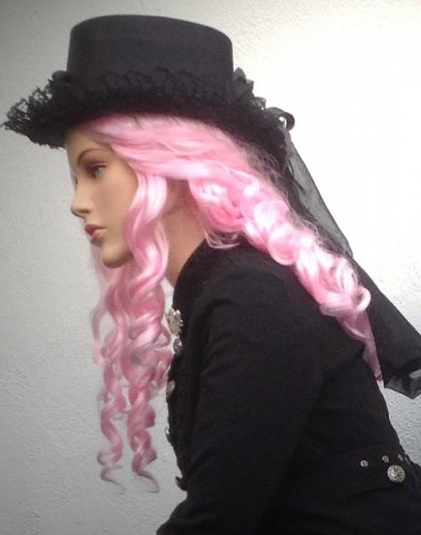Perücke Piratin Langhaar Locken rosa