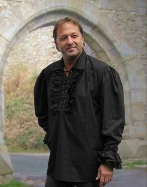 Musketierhemd in schwarzer Baumwolle