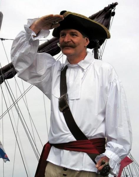 Piratenhemd Soldatenhemd BW weiß