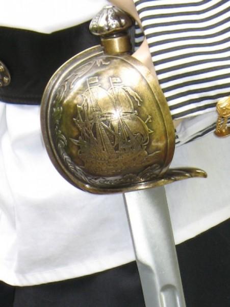 Piratensäbel mit Schwertscheide Totenkopf