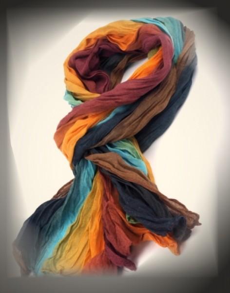 Schal in Regenbogenfarben aus Baumwolle