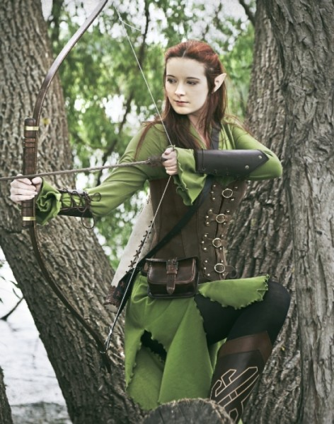 Elfenkleid Fantasy olivgrün