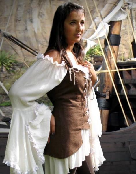 Piratenweste Mieder lang braun
