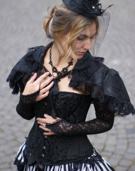 Jacquard Corsage schwarz