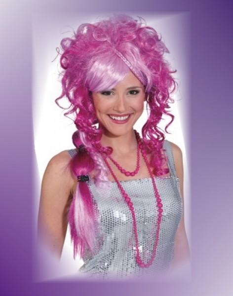 Rosa Pinke Perücke mit Zopf