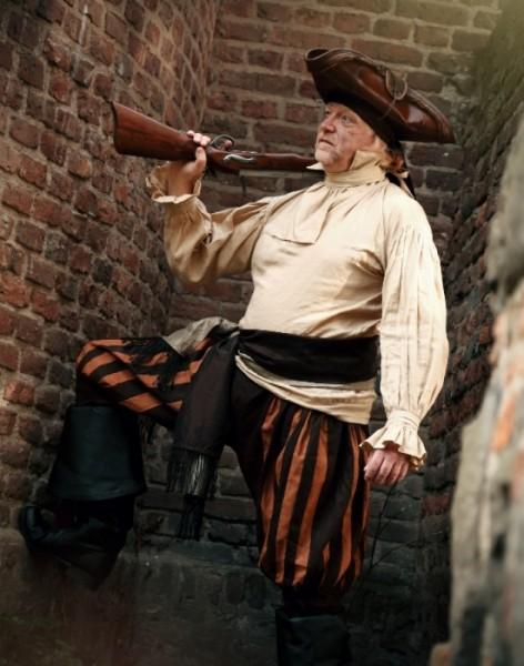 Piratenhemd Soldatenhemd Leinen beige