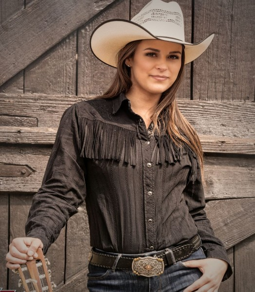Westernbluse Cowgirl Fransen