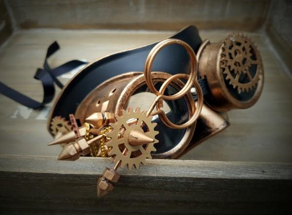 Steampunk Maske bronze