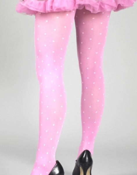Punkte Strumpfhose pink