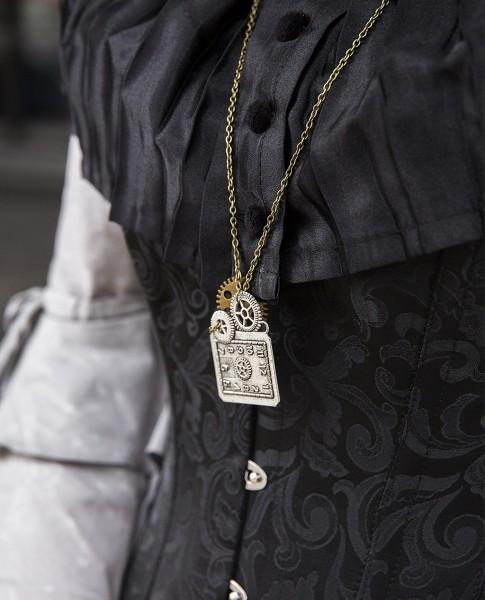 Kette Steampunk silber-bronze-Uhr