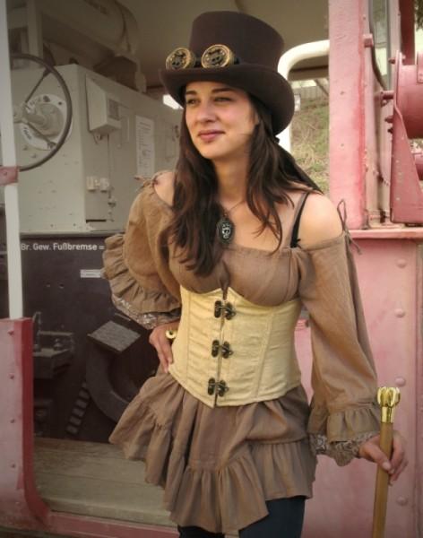 Piratenbluse Rüschenärmel Steampunk beige