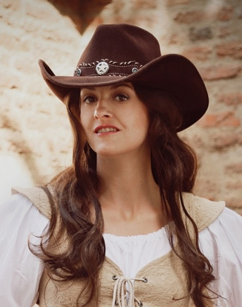 Cowboyhut dunkelbraun Wollfilz
